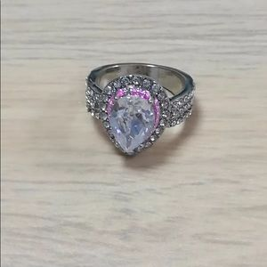 925 Sterling Silver - White & pink sapphire ring